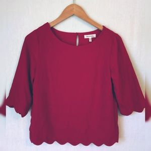 Monteau Red Scalloped Hem 3/4 sleeve blouse size S